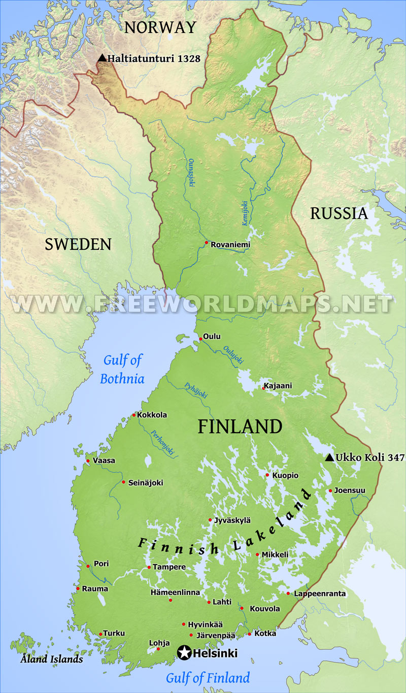 Finland physical map gumiabroncs
