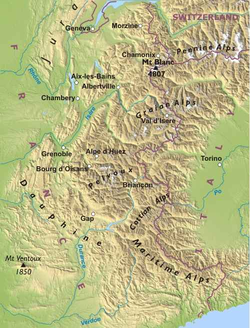 Map of French Alps Map of The French Alps