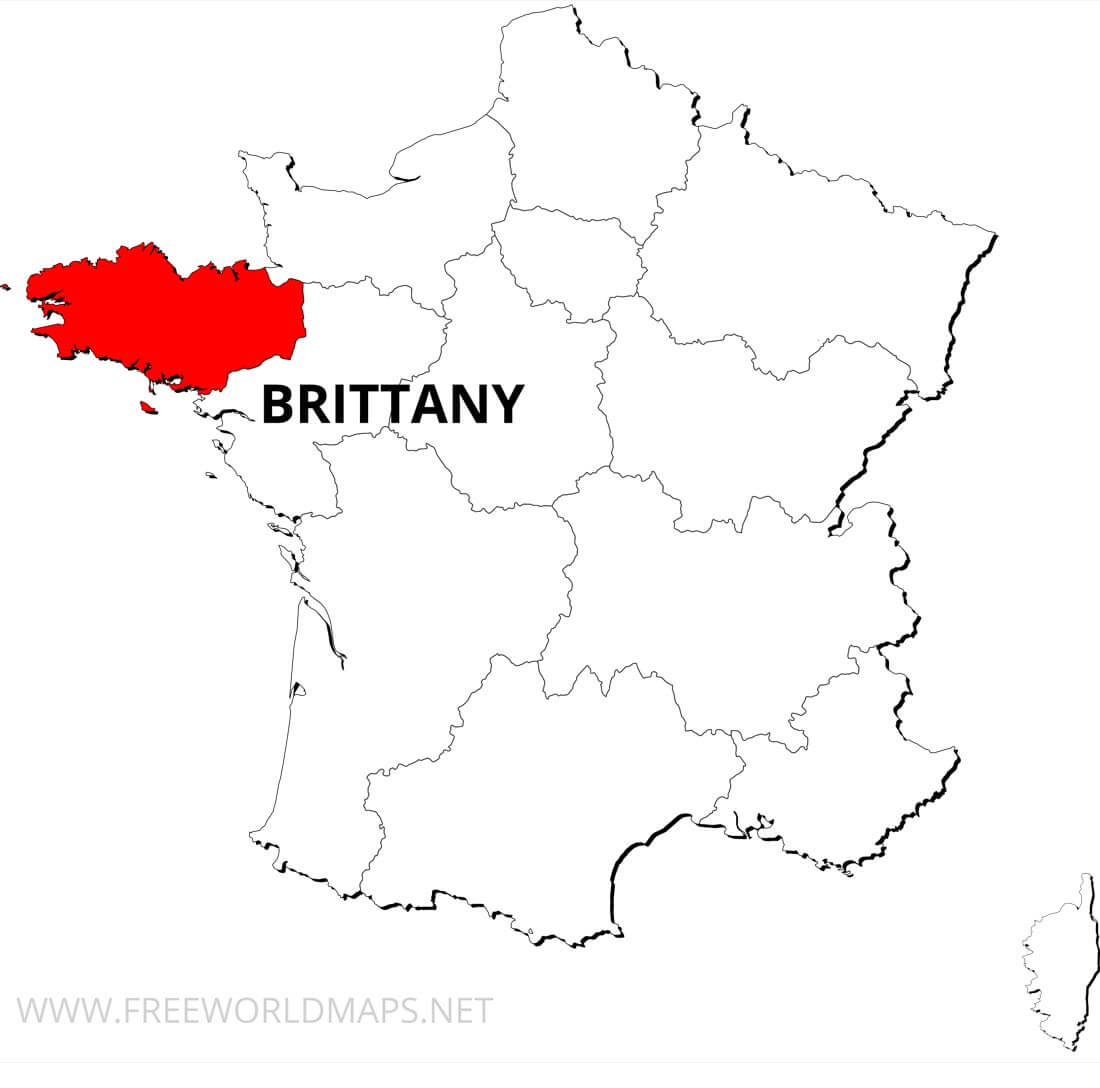 Brittany On Map Of France.Brittany Map