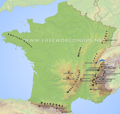 Mountain Map Of France.Map Of France With Mountains Twitterleesclub