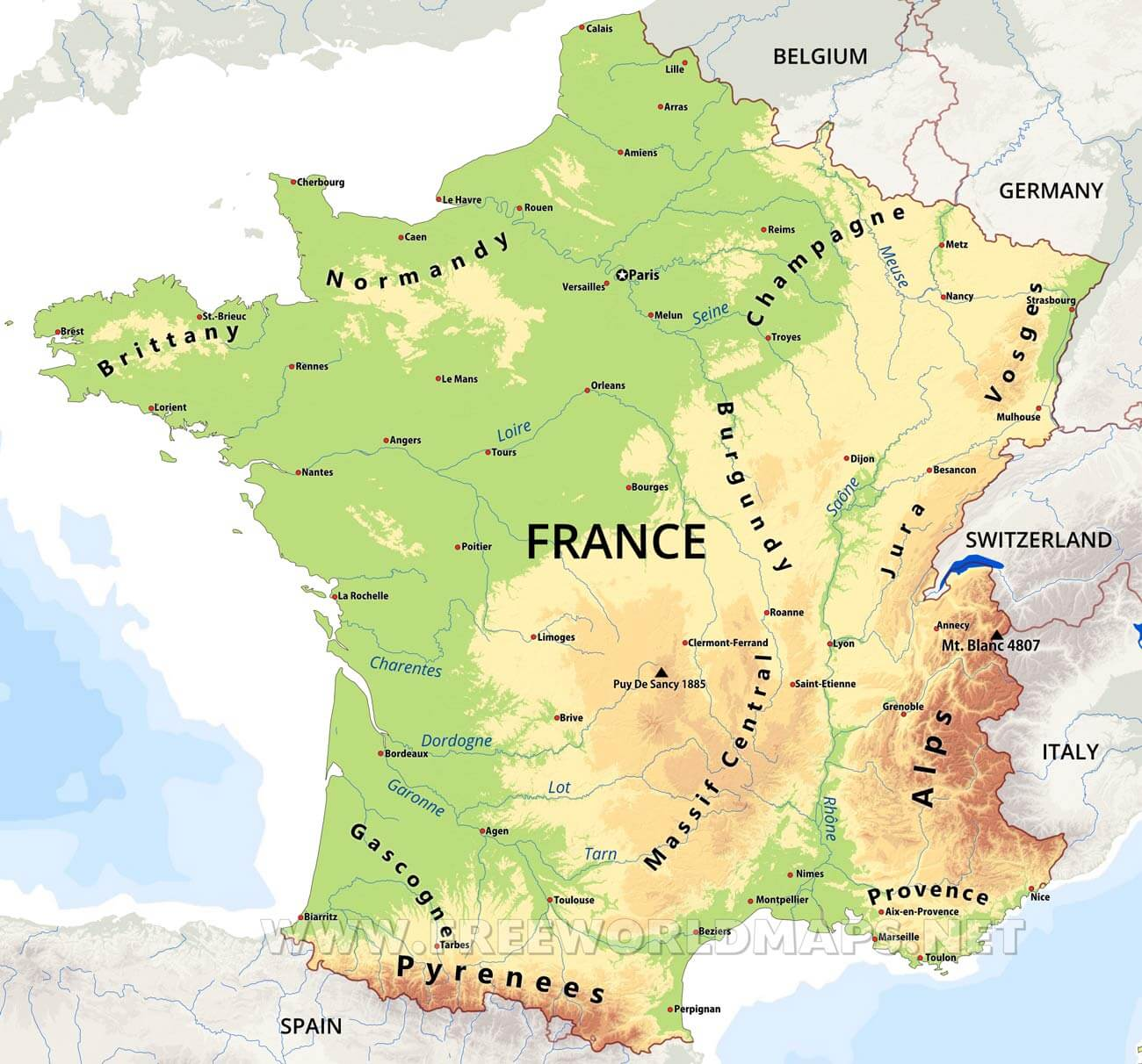 Map Of France And Europe.France Physical Map