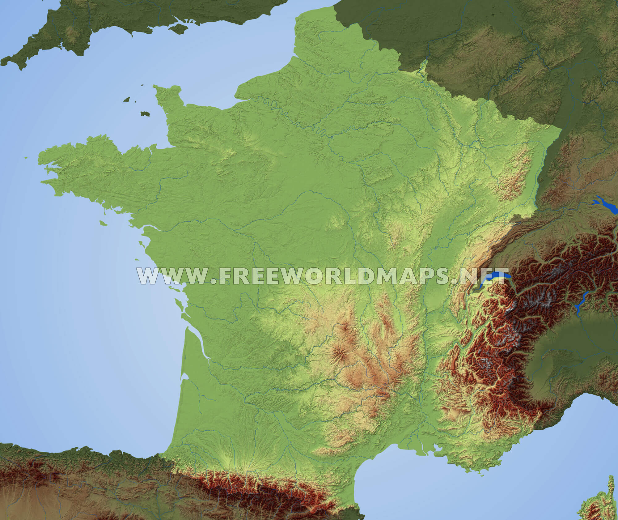 Mountain Map Of France.France Physical Map