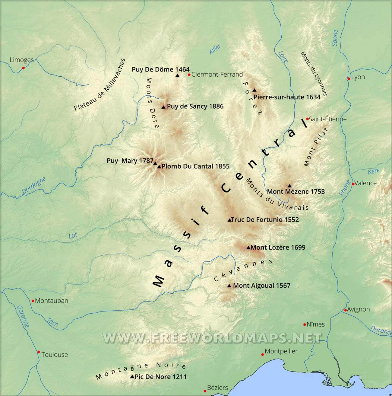 Massif Central Physical Map - France physical map