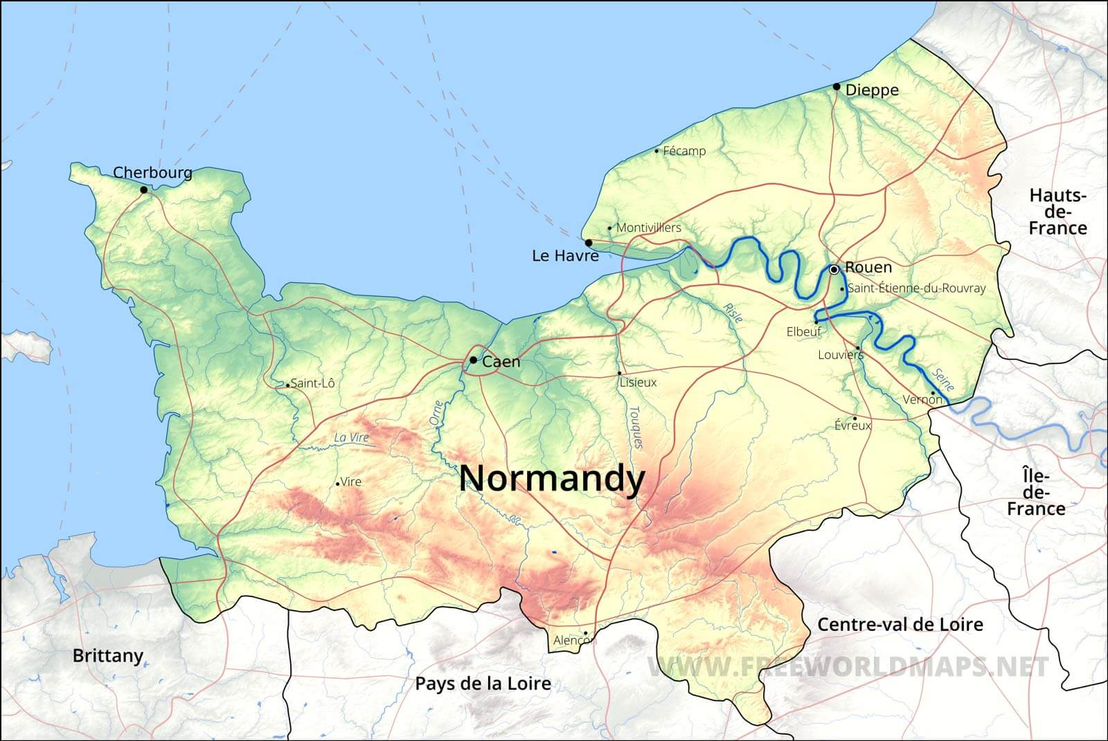 Map Of Normandy France Detailed.Normandy Map