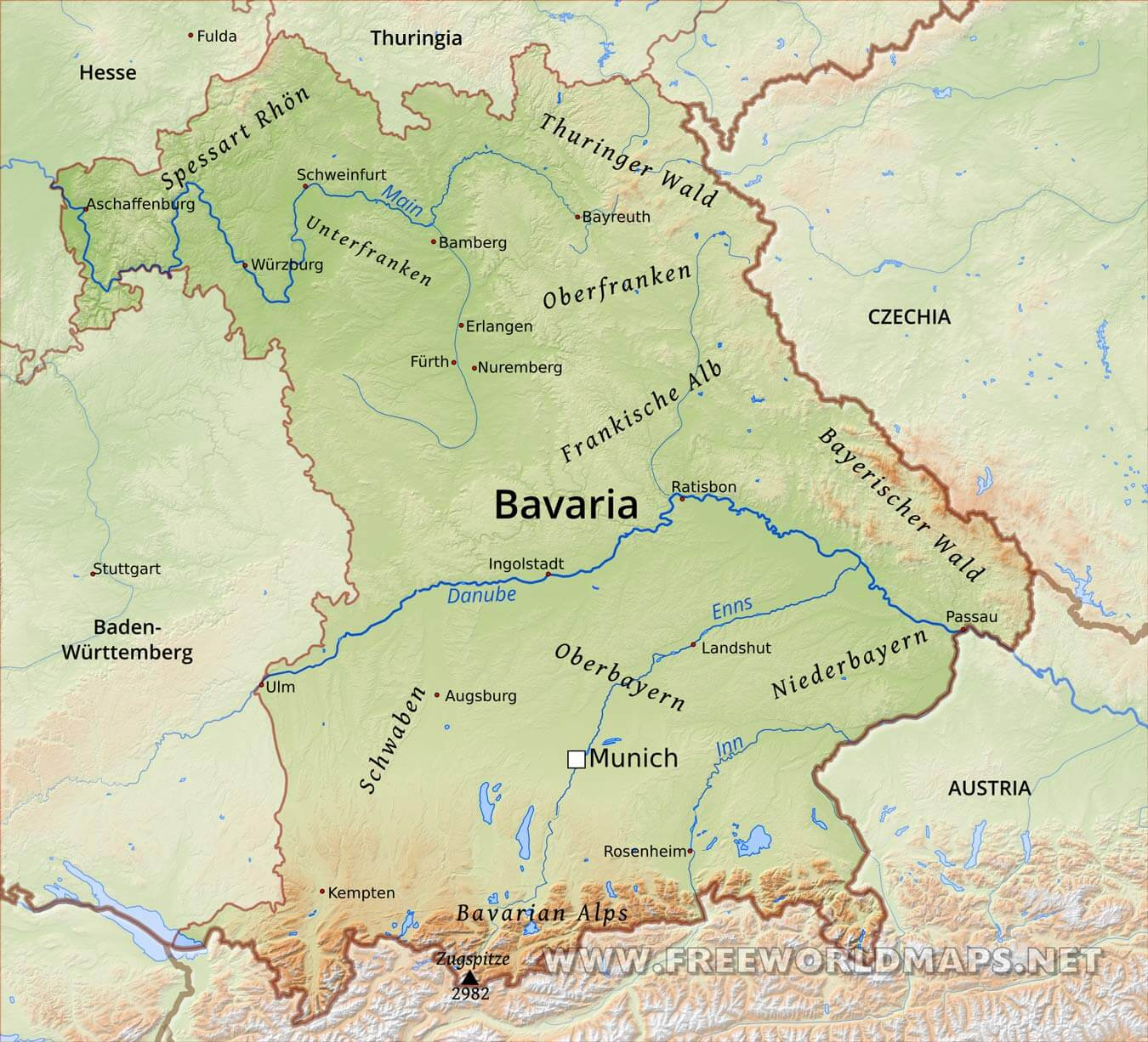 Bavaria Physical Map
