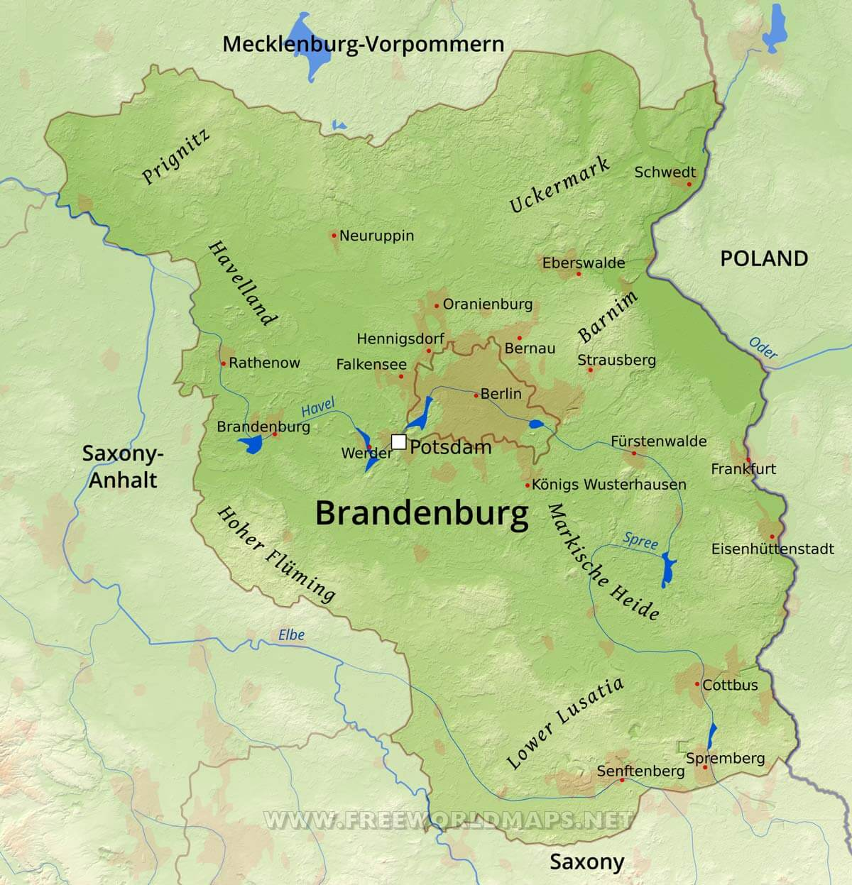Brandenburg Physical Map
