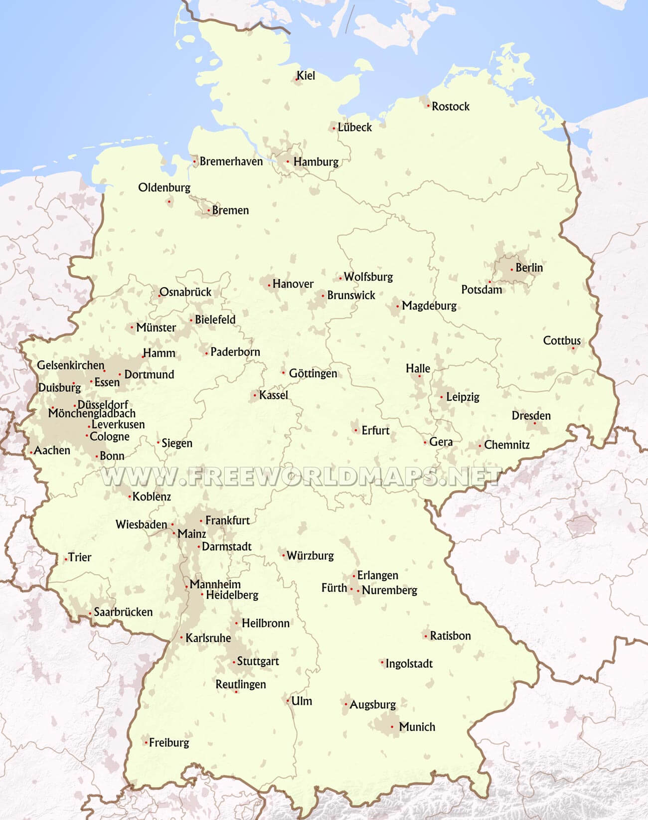 germany cities major cities of germany germany blank map hd