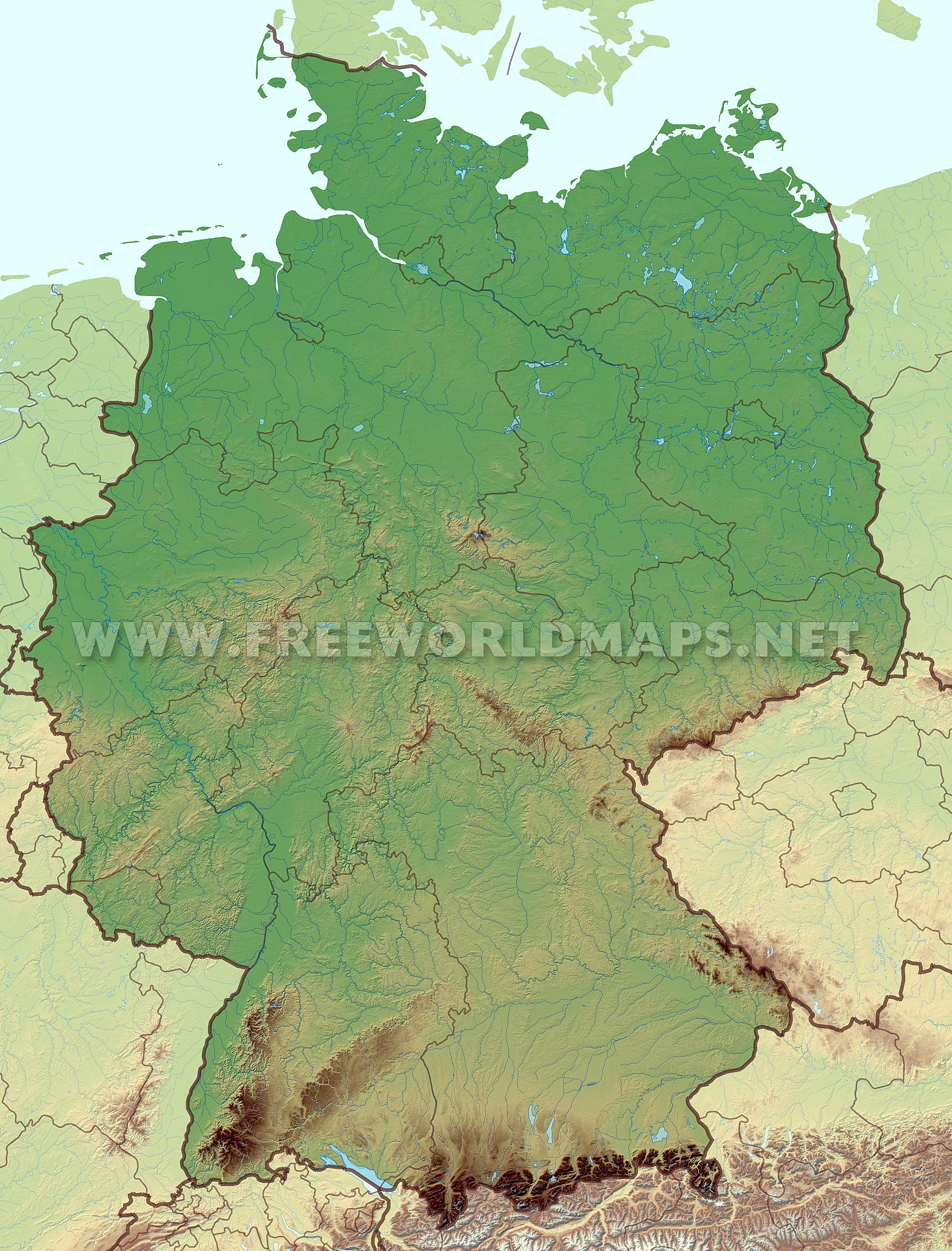 Germany physical map – High ...