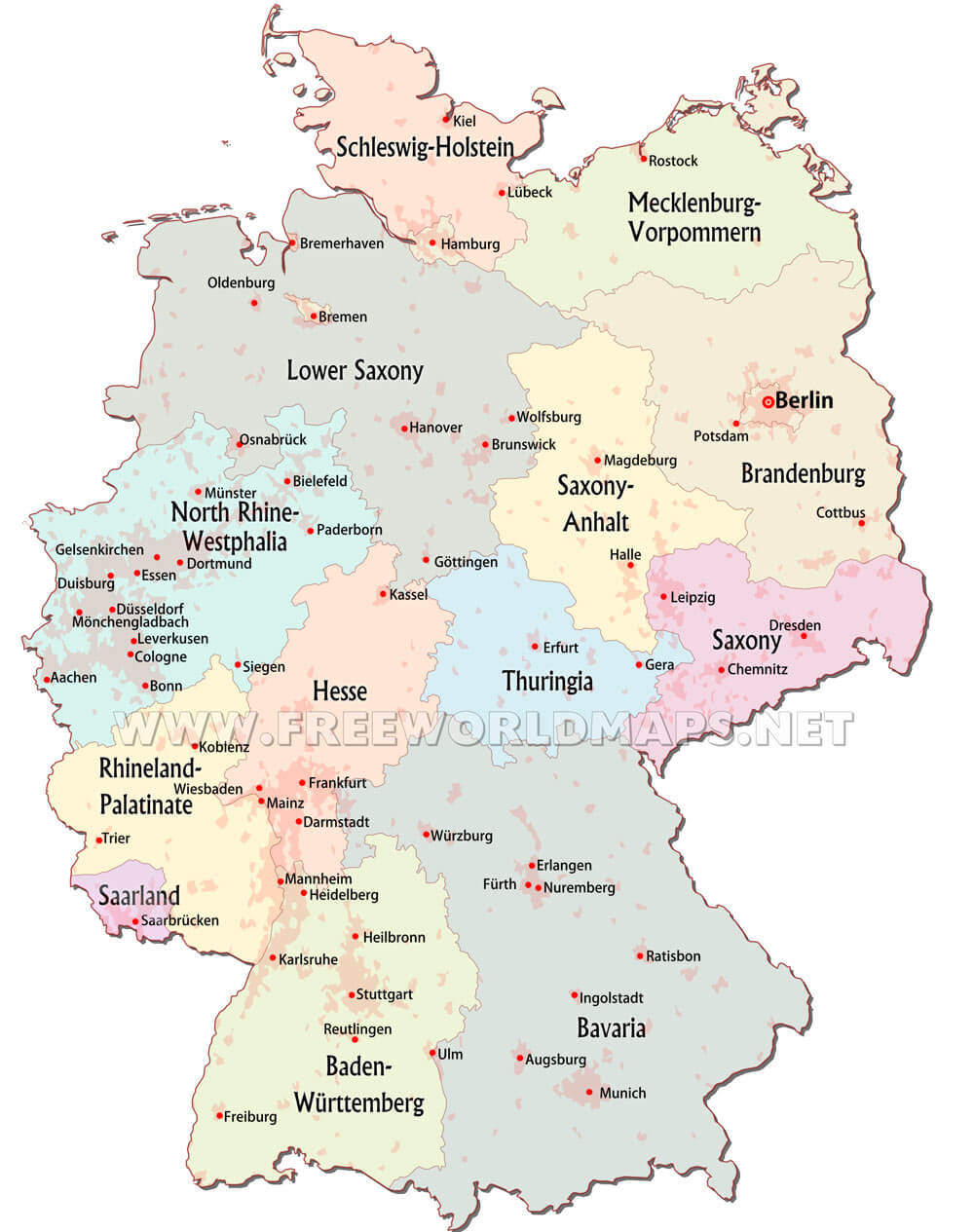 Gelsenkirchen Germany Map.Germany Maps By Freeworldmaps Net