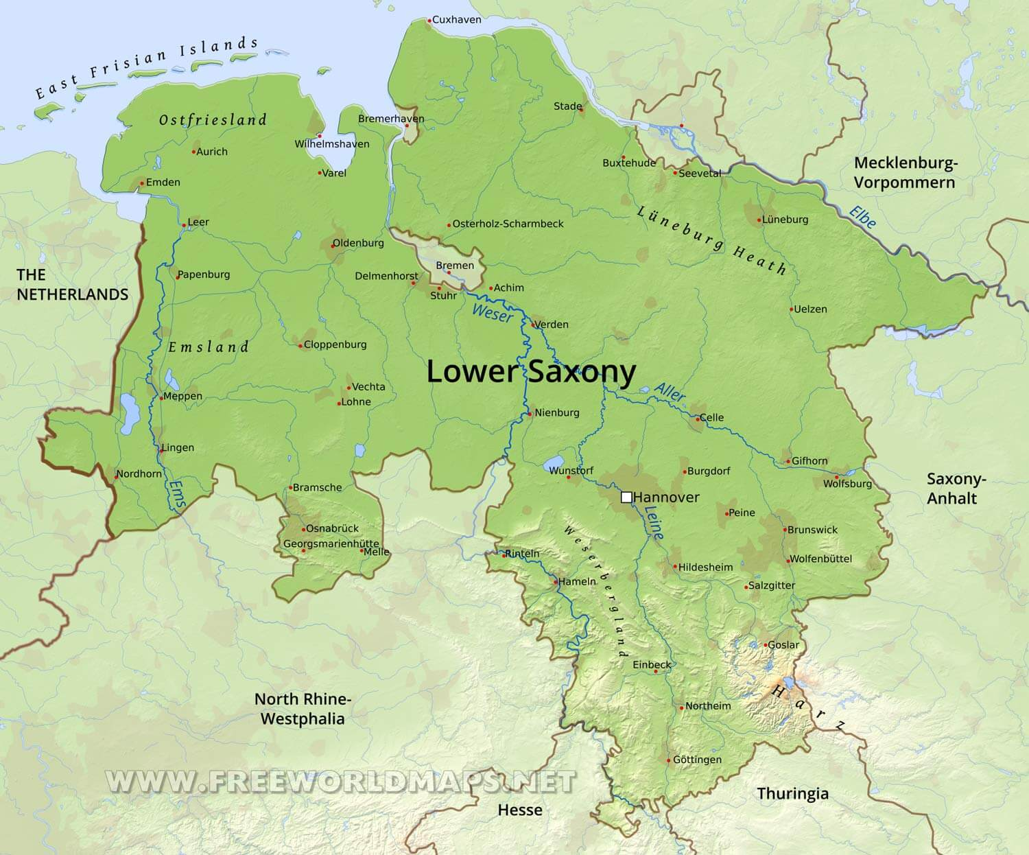 Lower Saxony Germany Map.Lower Saxony Physical Map