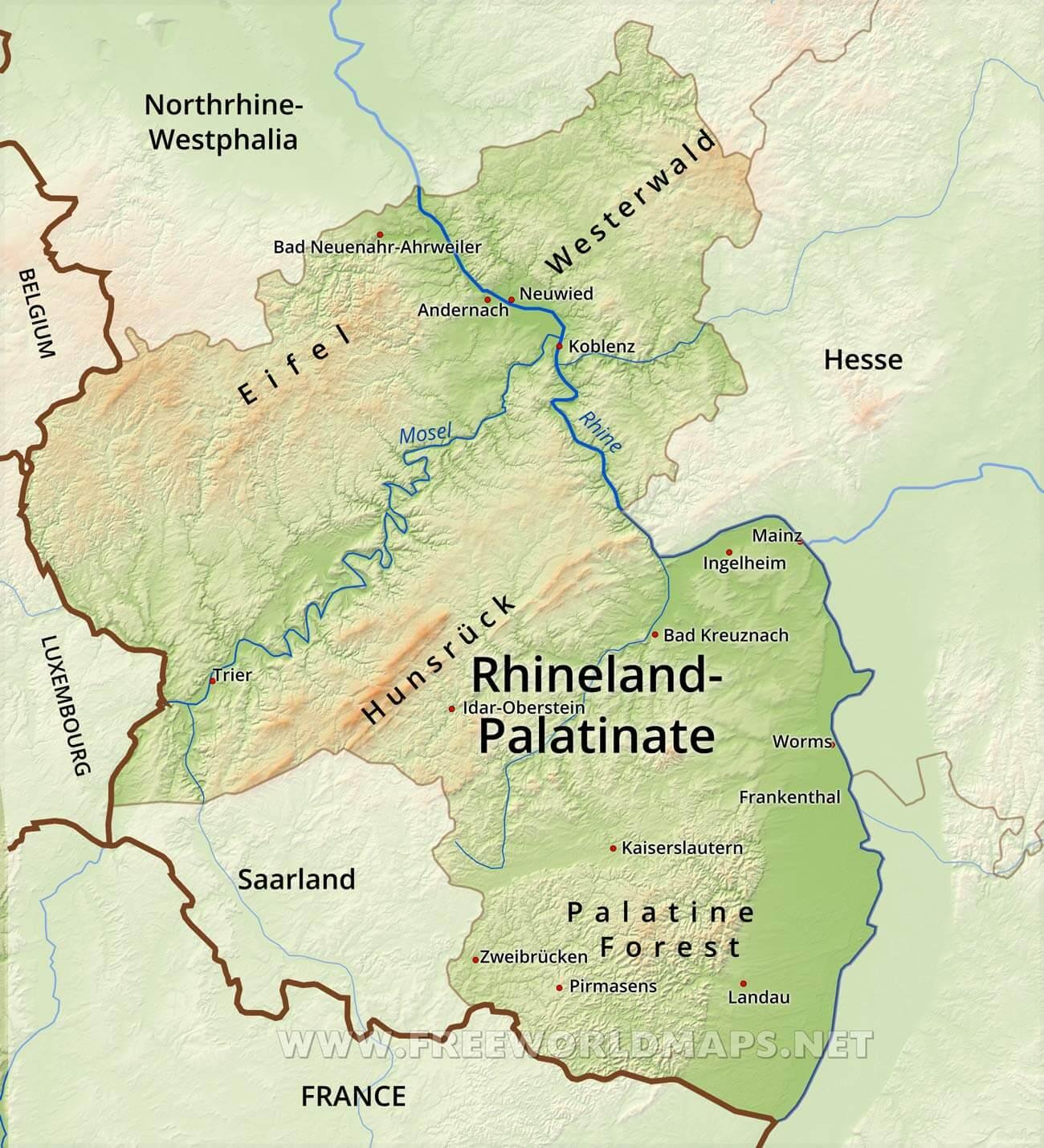 RhinelandPalatinate Physical Map