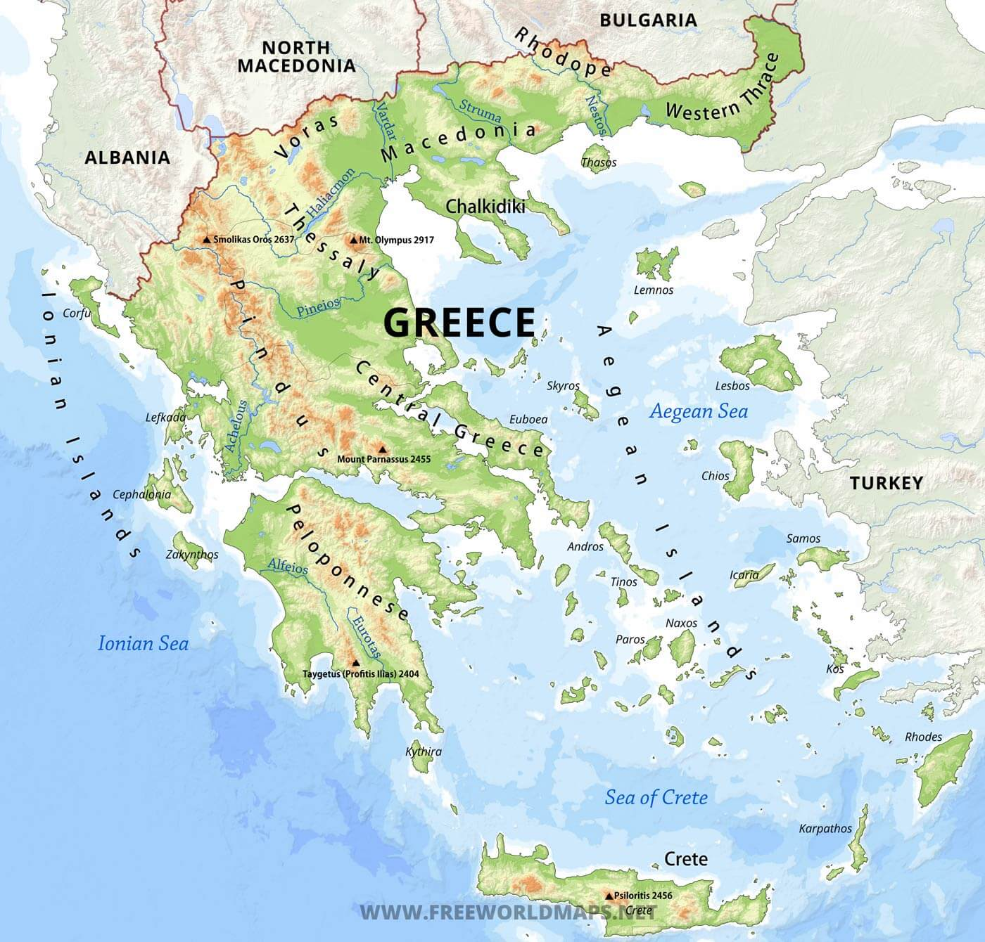 Greece Physical Map - Us physical features map labeled