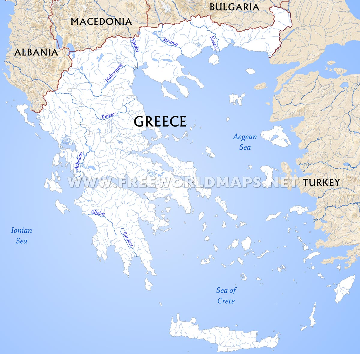 Greece physical map greek islands map showing the major islands and peninsulas of greece greece rivers gumiabroncs