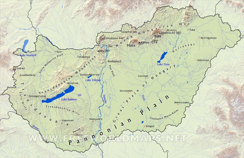 hungary physical map