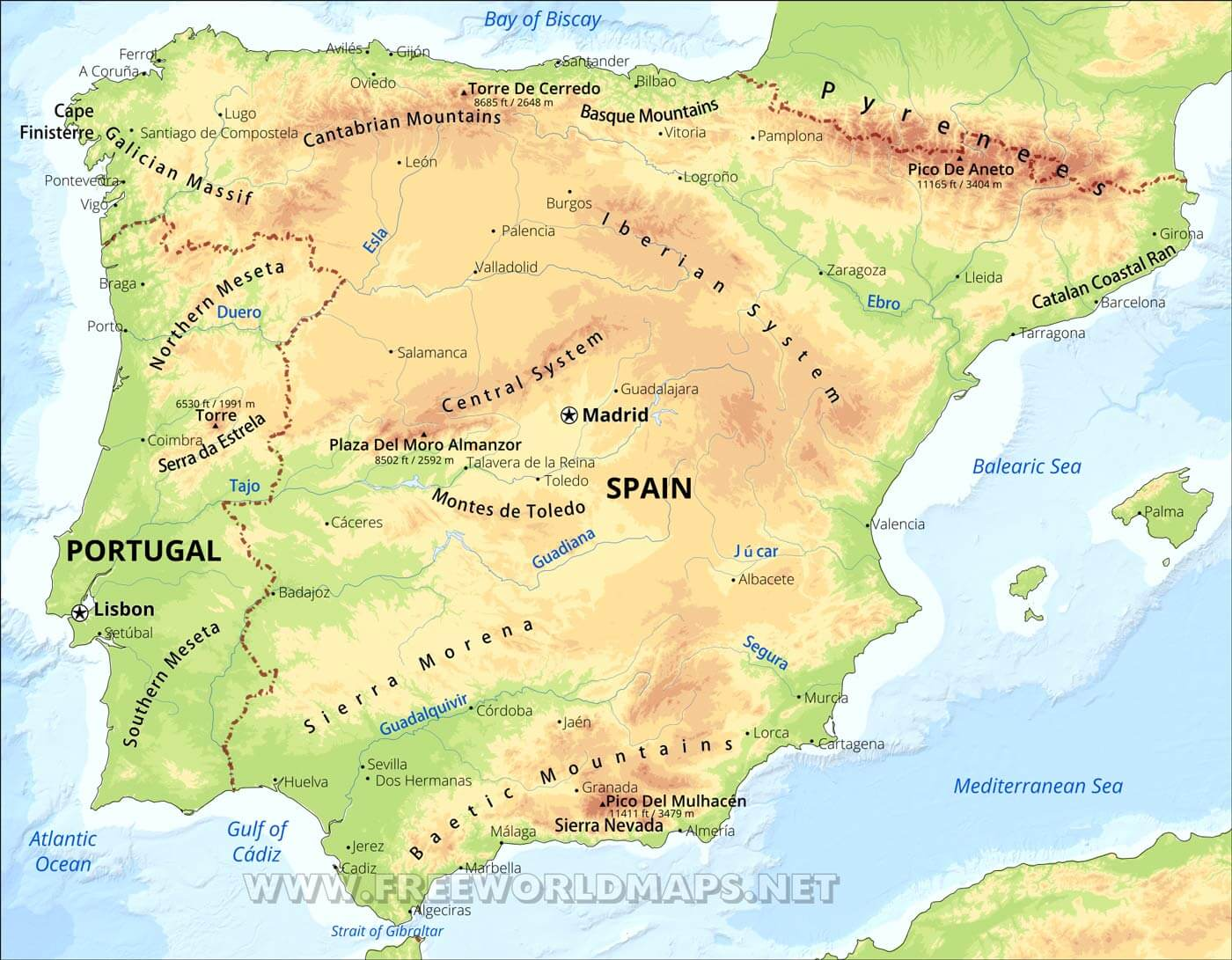 Iberian Peninsula Map - Physical map of spain