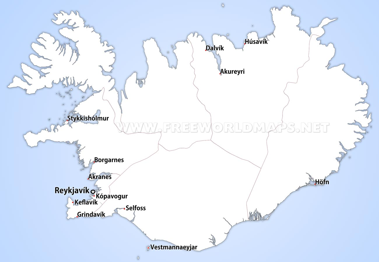Iceland political map iceland regions map showing the administrative divisions of iceland iceland cities gumiabroncs Images