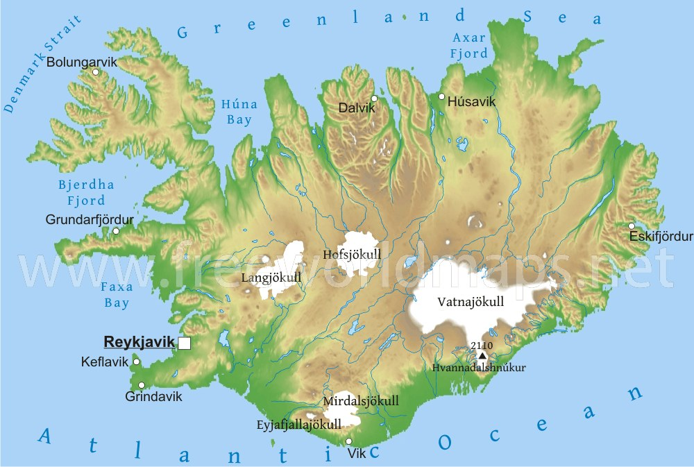 Iceland physical map iceland geography gumiabroncs Gallery
