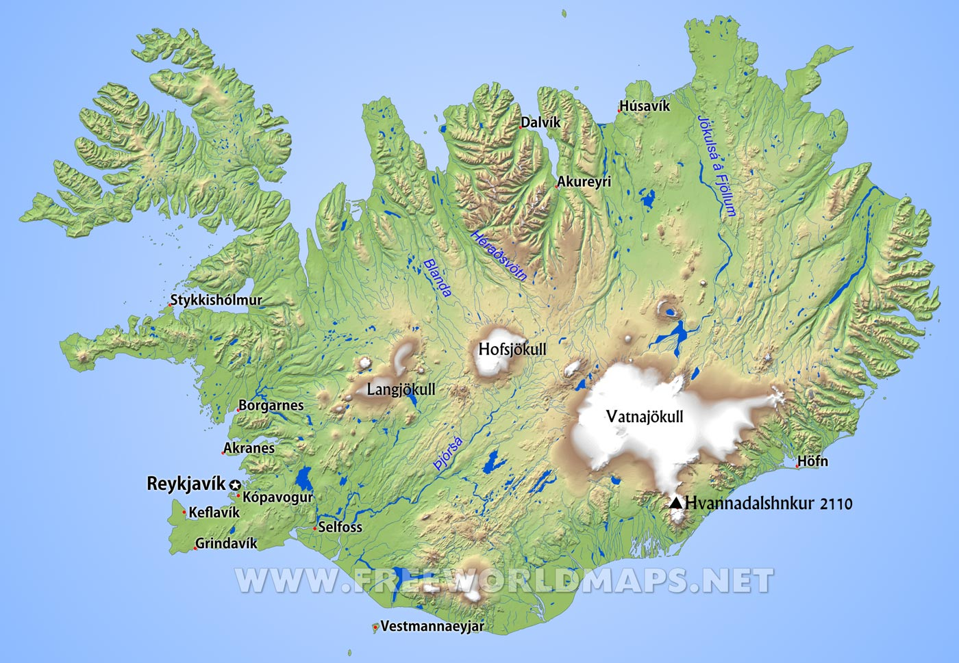 Iceland Physical Map - Iceland map