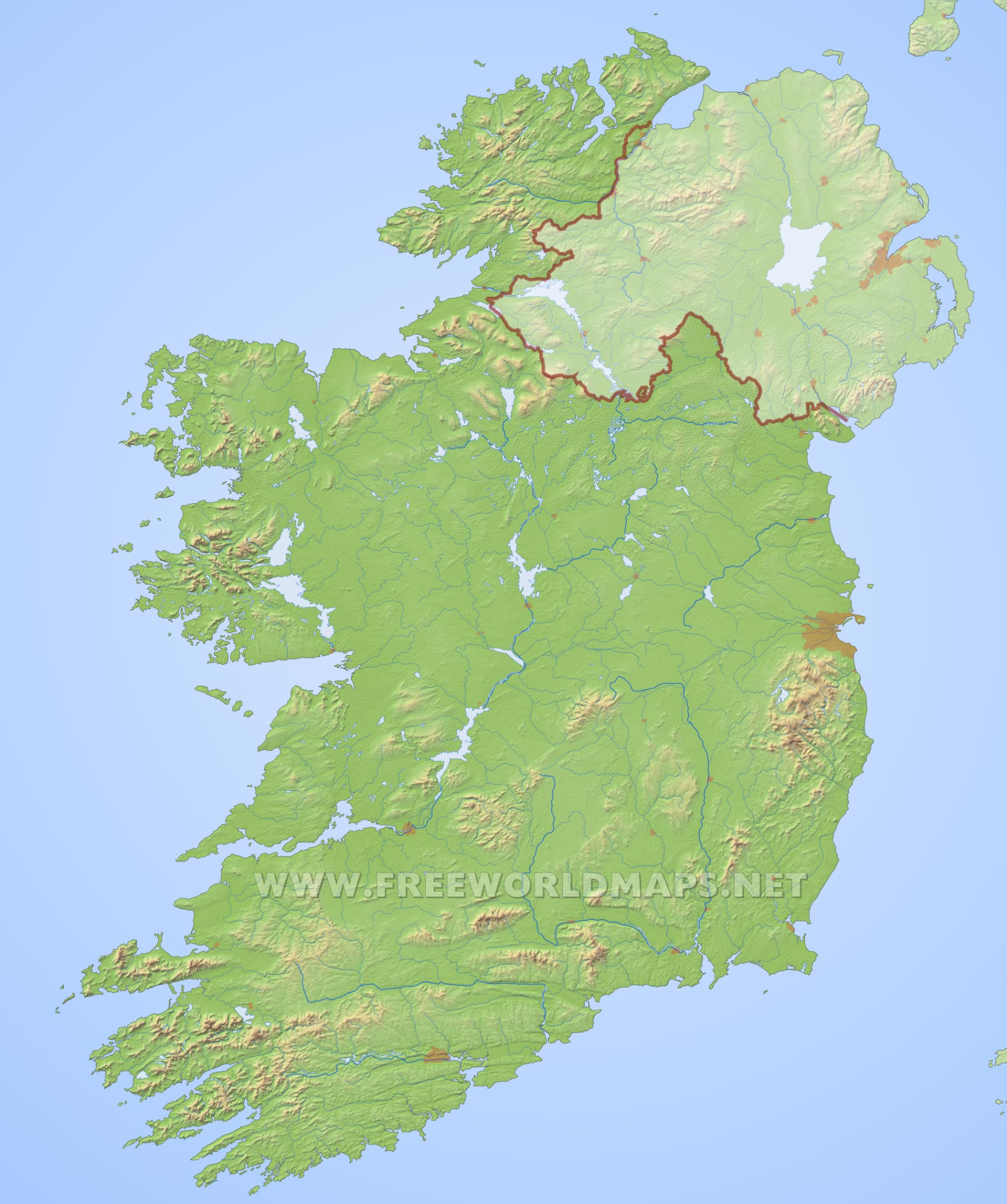 ... Geographical Features Of Ireland Ireland HD Map