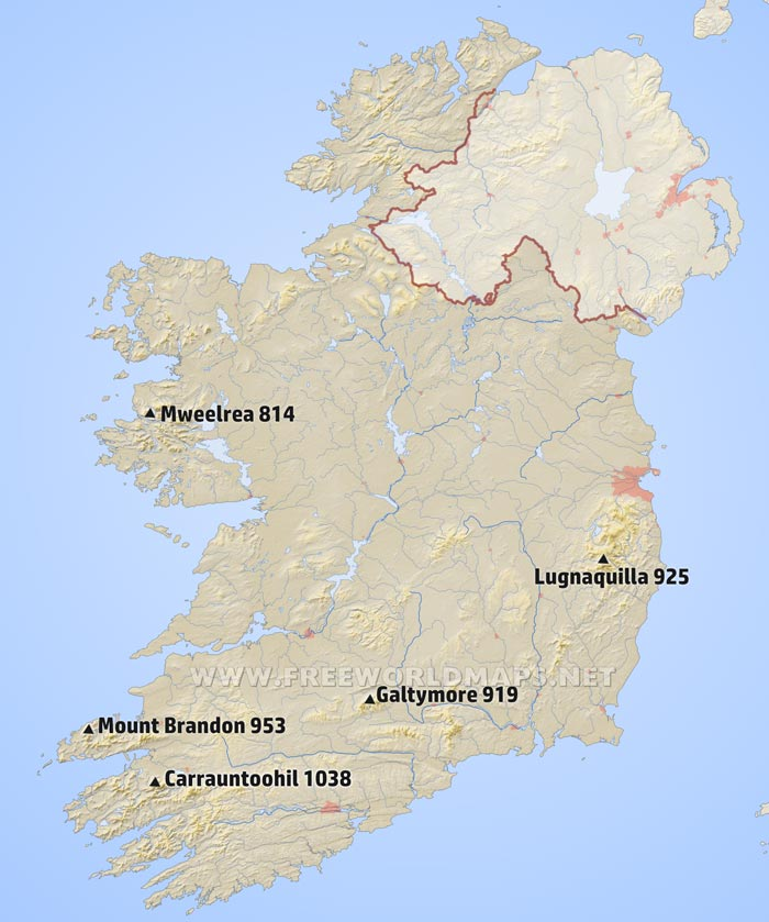 Map Of Ireland With Mountains.Ireland Physical Map