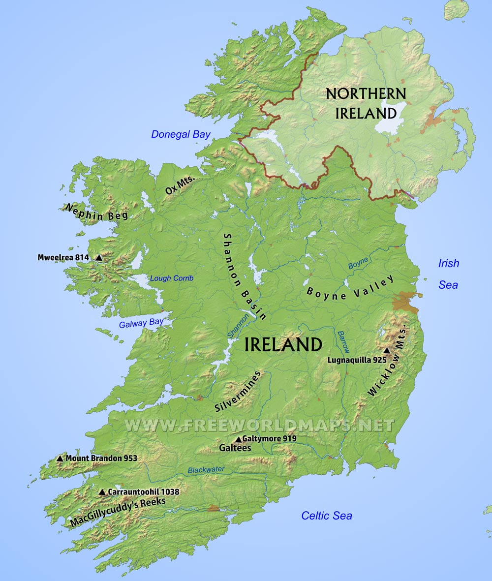 . ireland physical map