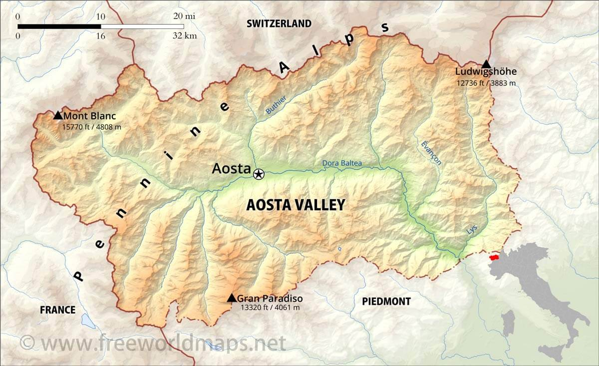 Aosta Valley Physical Map