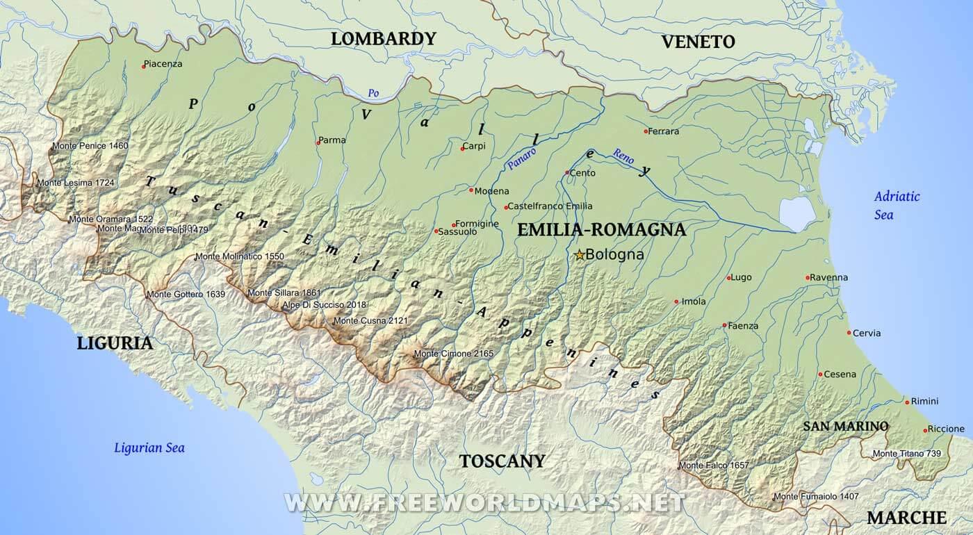 EmiliaRomagna Physical Map Cesena map
