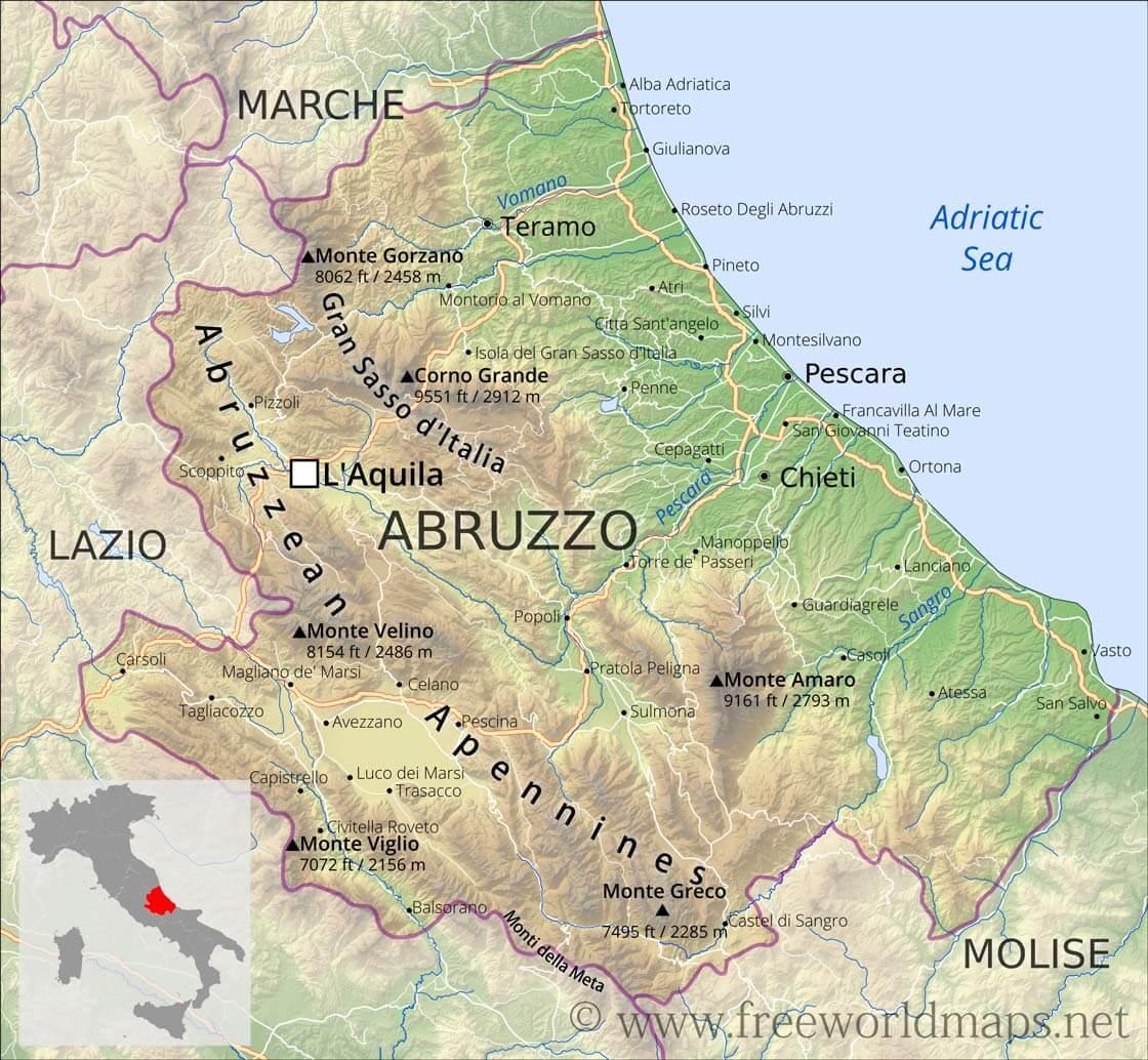 Abruzzo Physical Map