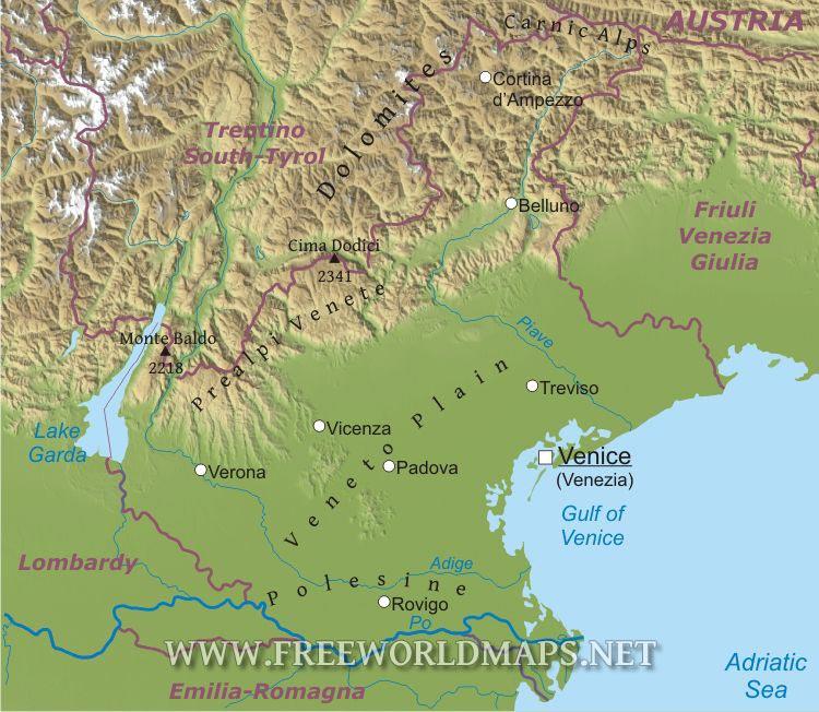 Veneto Physical Map