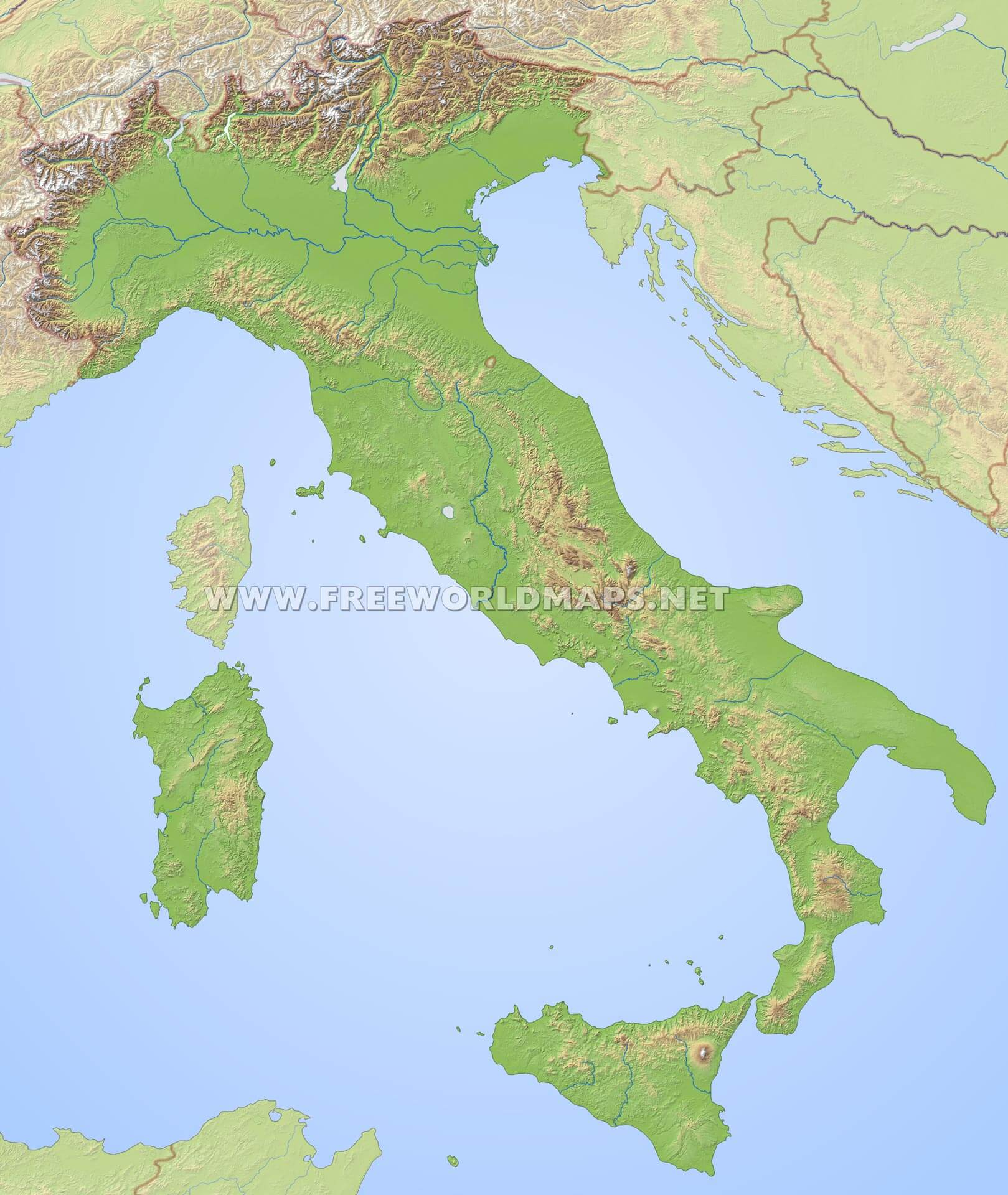 Italy physical map italy geography map showing the major geographical features of italy italy hd map gumiabroncs Images