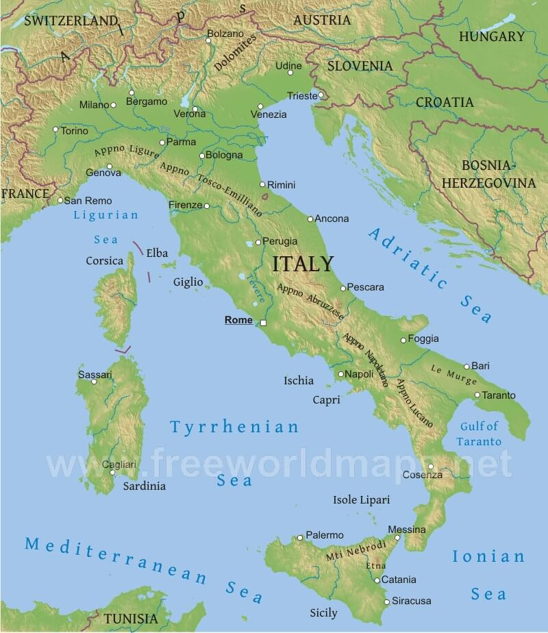 Physical map of italy
