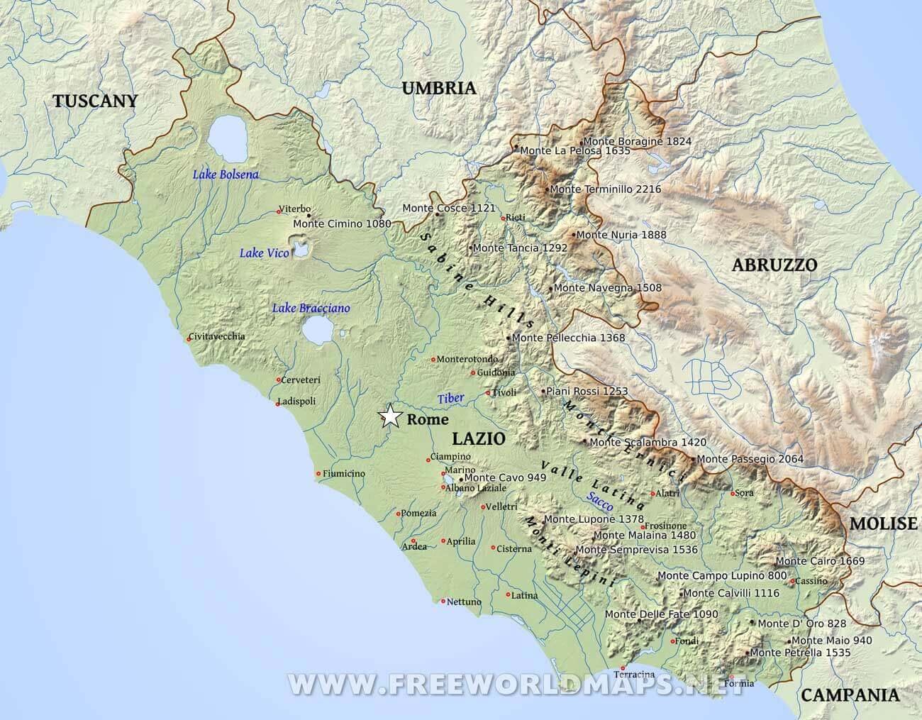 Lazio Physical Map