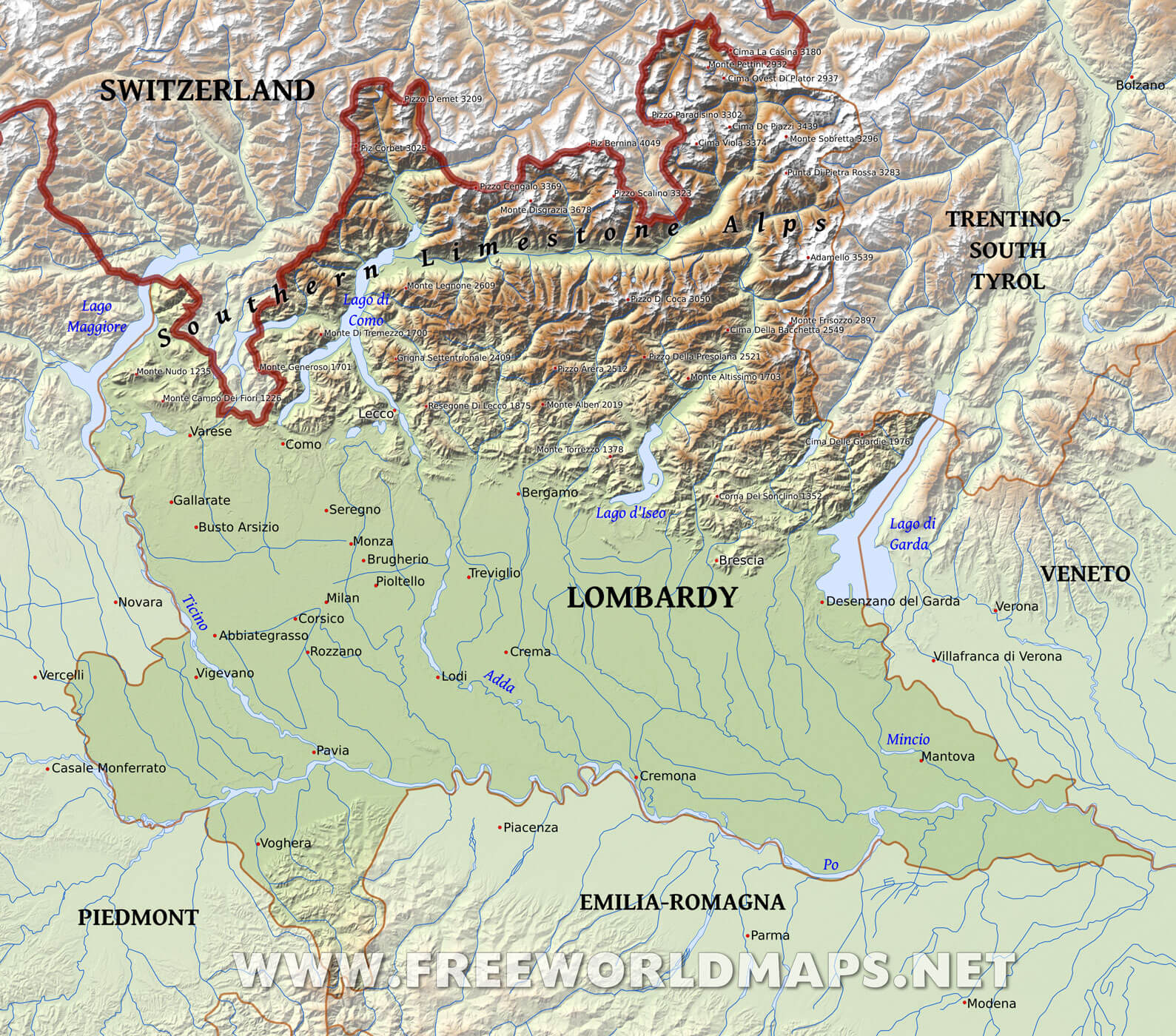 Lombardy Physical Map