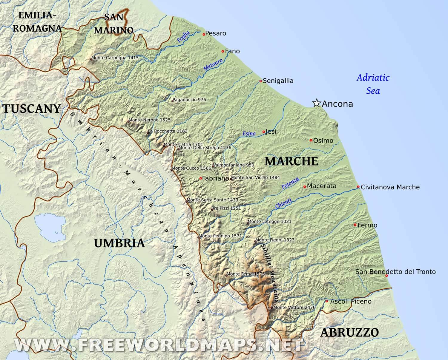 Marche Region Italy Map.Marche Physical Map