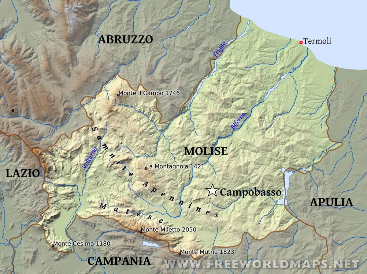 Molise Physical Map