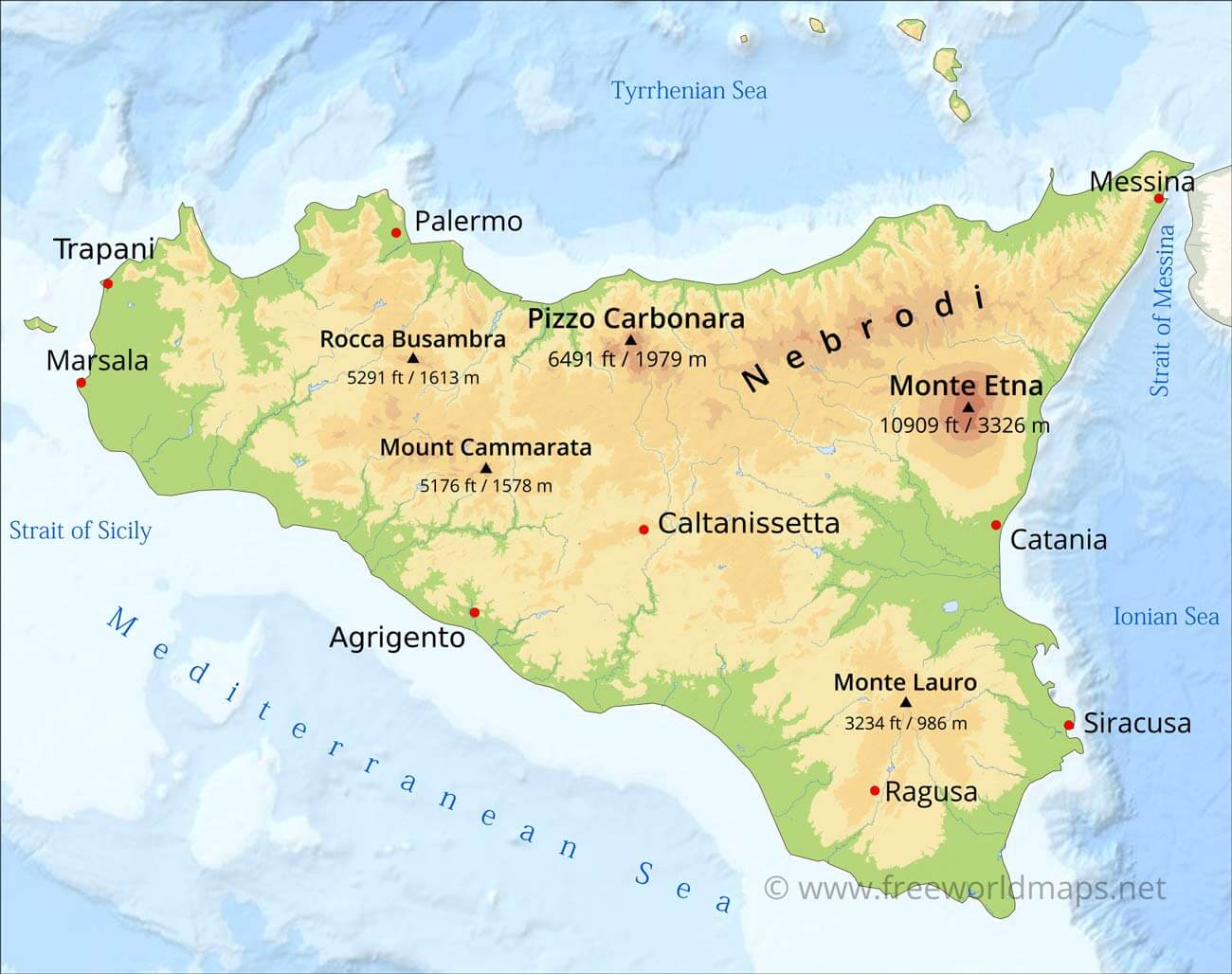 Cities In Sicily Italy Map.Sicily Physical Map