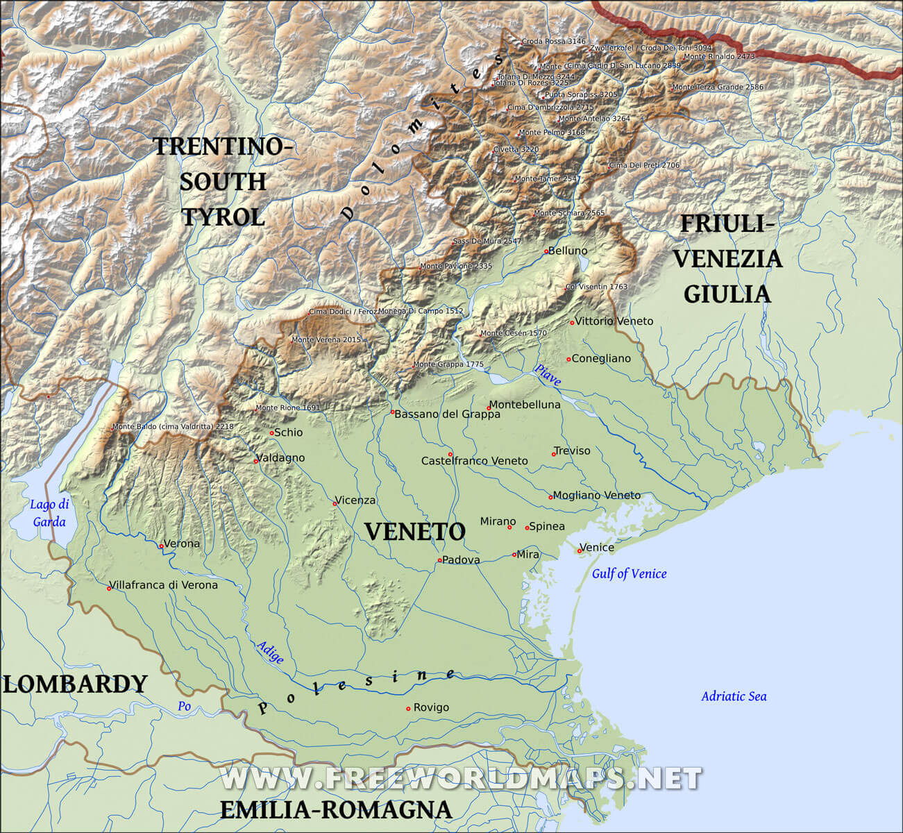 Veneto Physical Map
