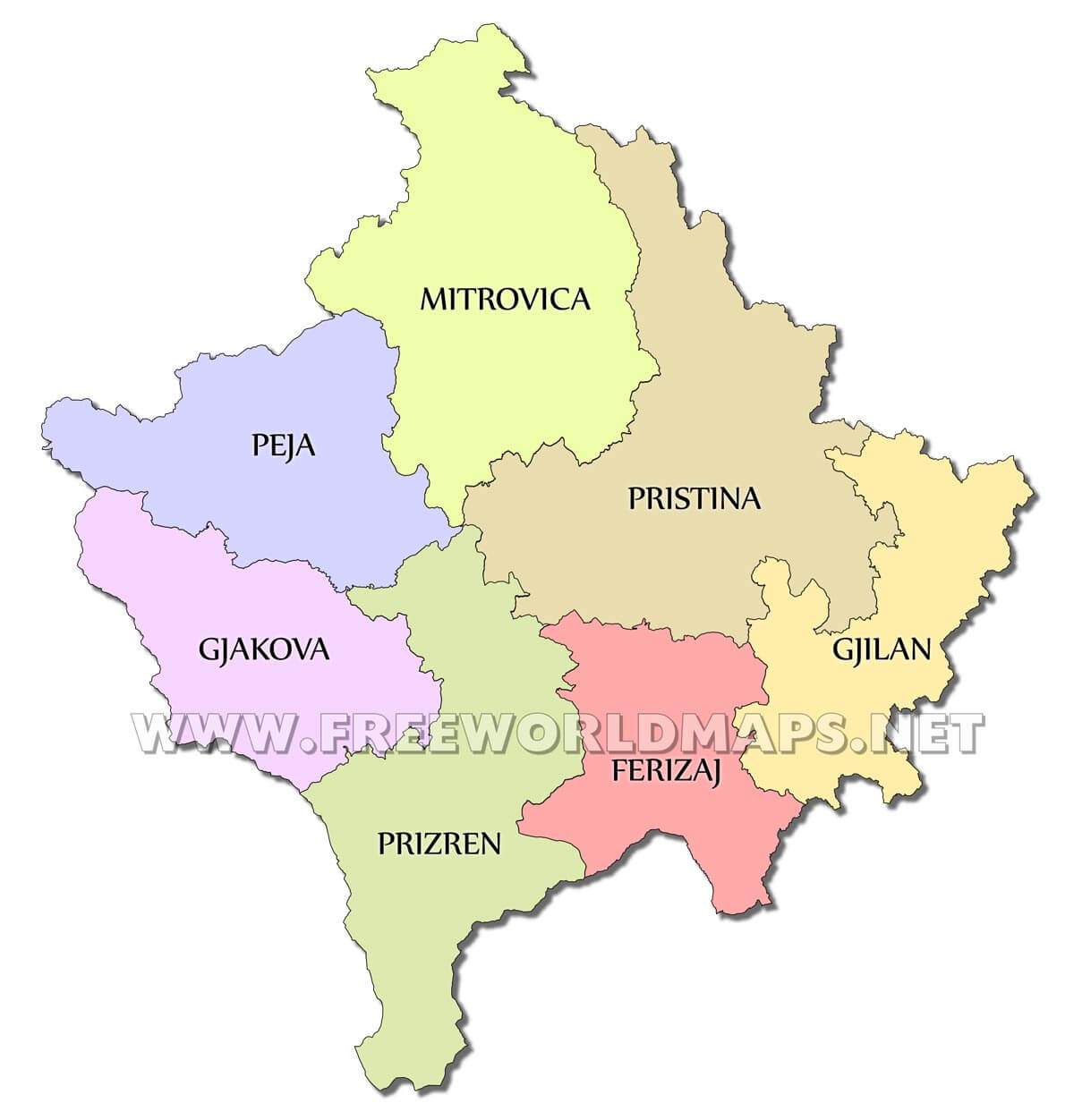Kosovo political map kosovo districts gumiabroncs Images