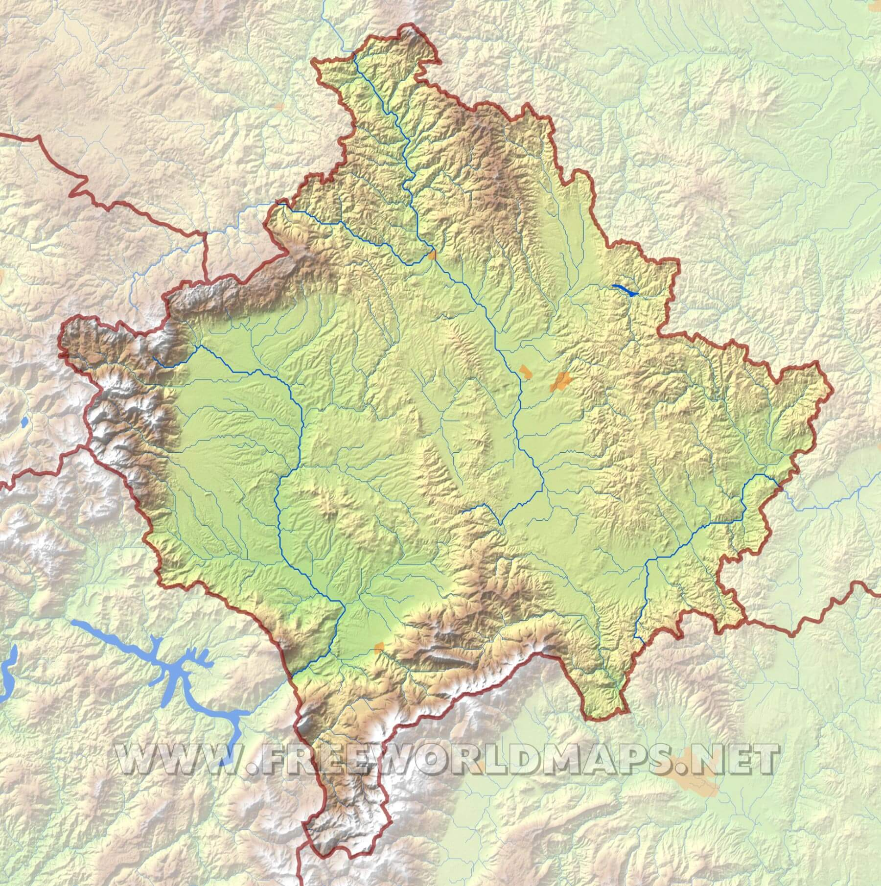 Kosovo Physical Map