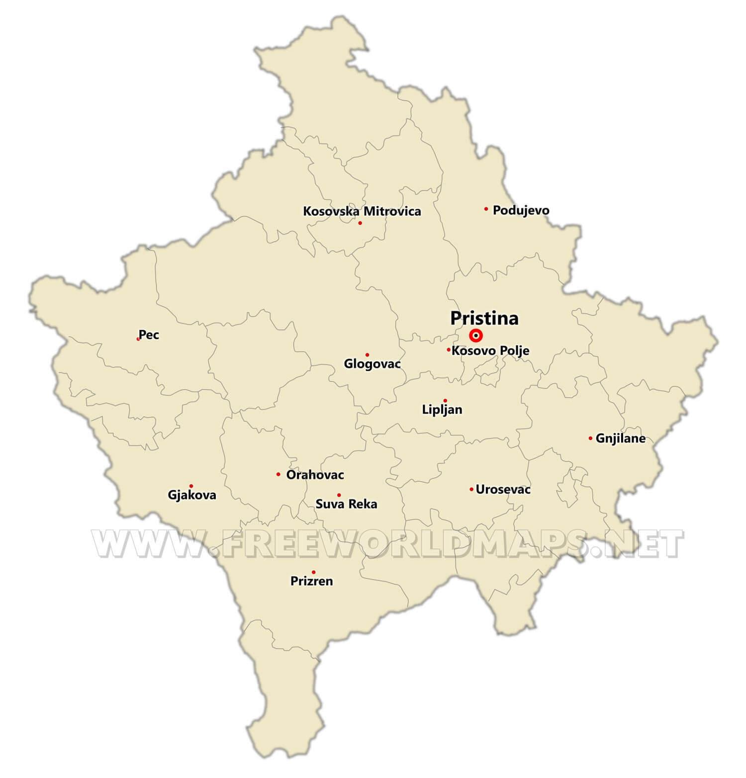 Kosovo Political Map