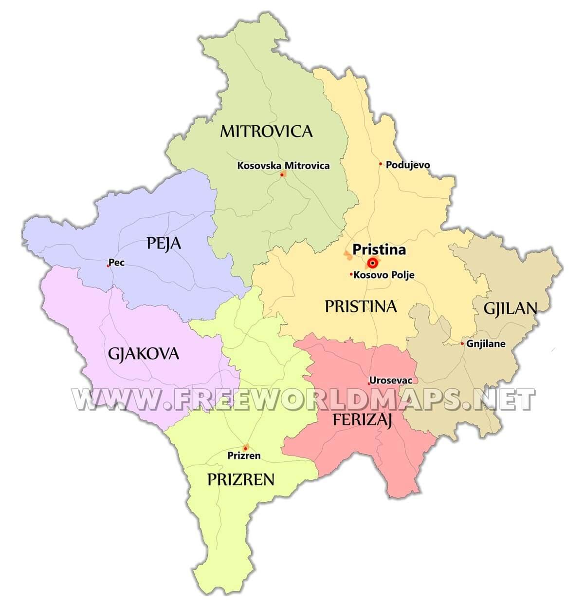 Kosovo maps by freeworldmaps kosovo maps gumiabroncs Gallery