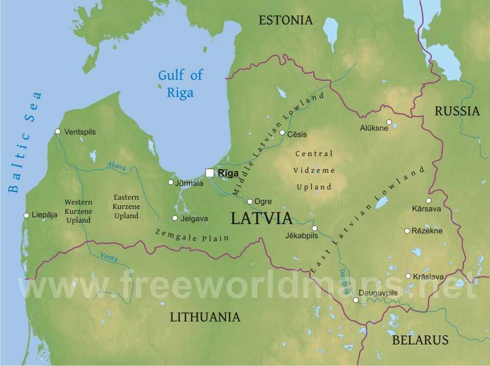 Latvia Physical Map – Geographical Map of Eastern Europe