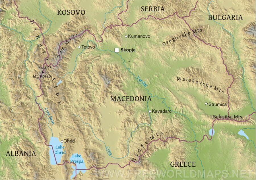 Macedonia Physical Map – Geographical Map of Eastern Europe