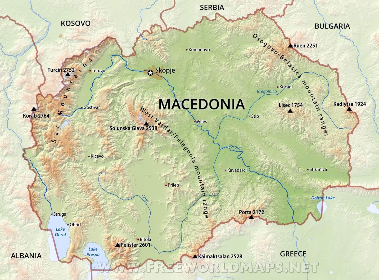 Macedonia Physical Map