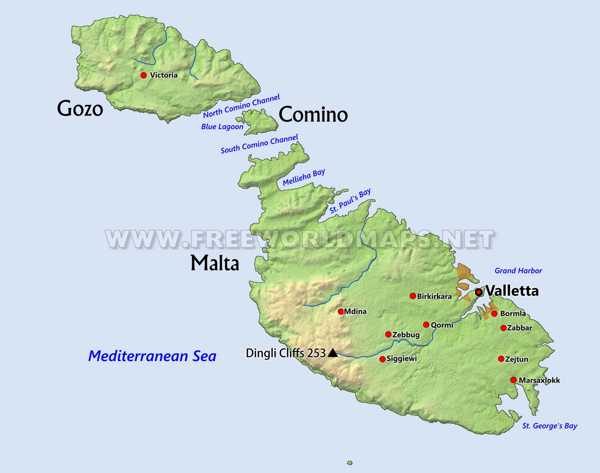 Malta Physical Map