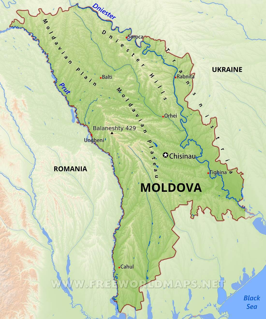 Moldova Physical Map