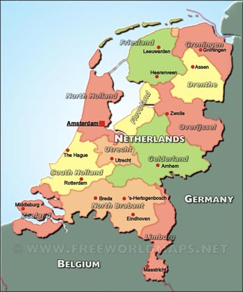The netherlands physical map the netherlands political maps sciox Images