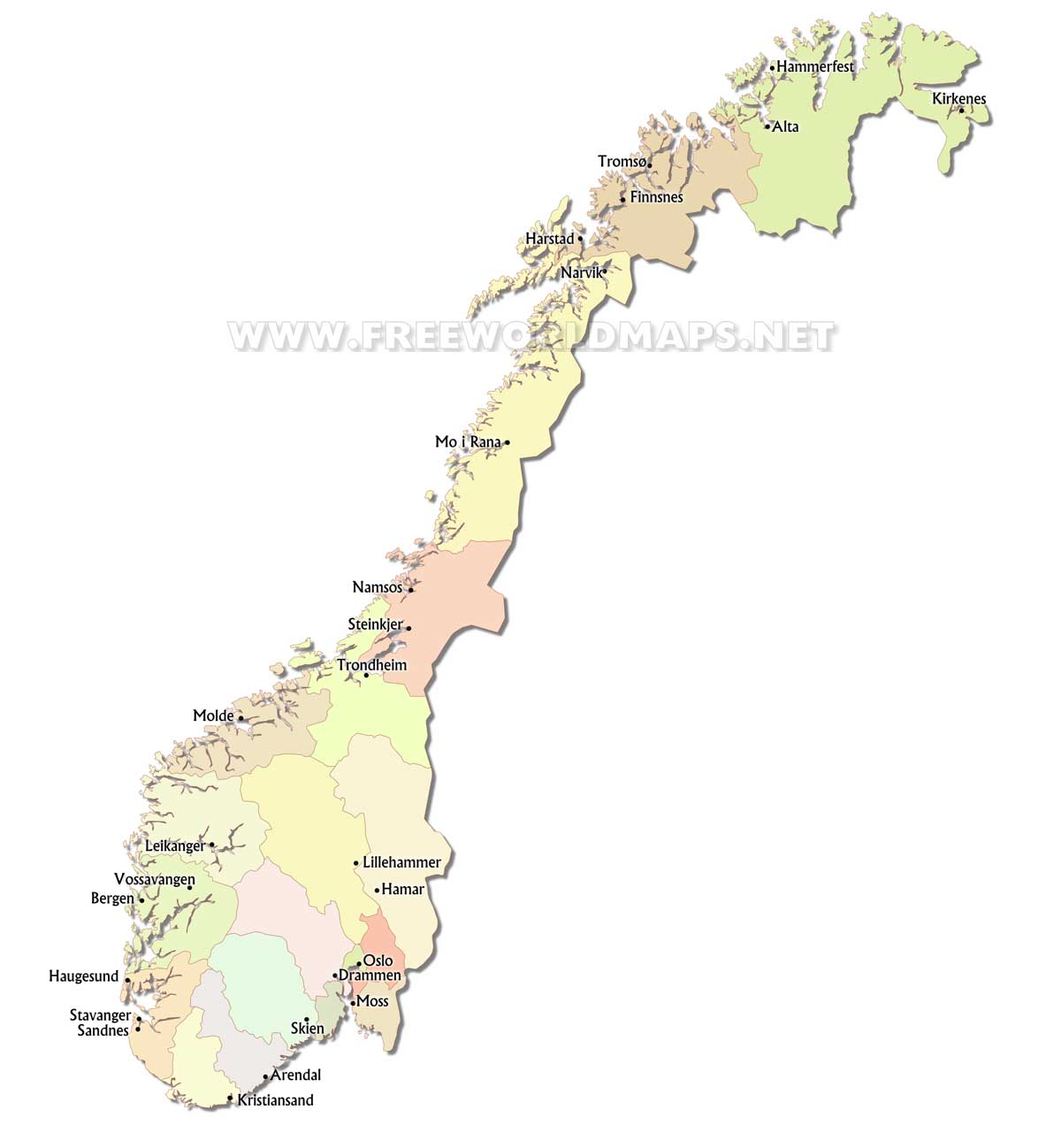 Norway Political Map - Map of cities in norway