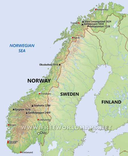 Norway Maps By Freeworldmapsnet - Michelin norway map 752