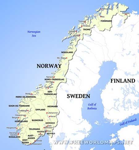 Norway Maps By Freeworldmapsnet - Norway map of europe